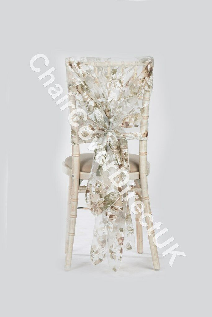 Moccha Beige Floral Organza Hoods 10,25,50,100 Wedding chair Decoration