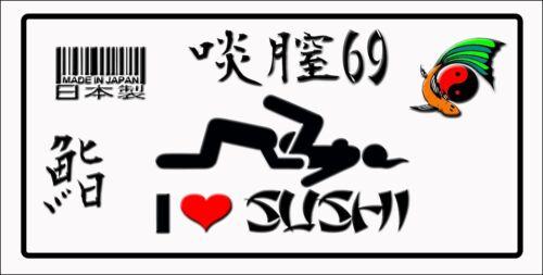JAPANESE STYLE CUSTOM  TRD  JDM LICENSE PLATE  I Love  Sushi Fits Honda Toyota