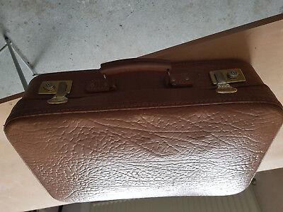 Clever Alter Lederkoffer, Koffer Aus Leder, Antik, Reisekoffer 60 X 35 X 15 Cm