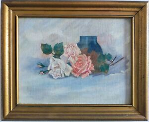 Oil-on-canvas-lent-roses-approximately-43x35-cm-framed