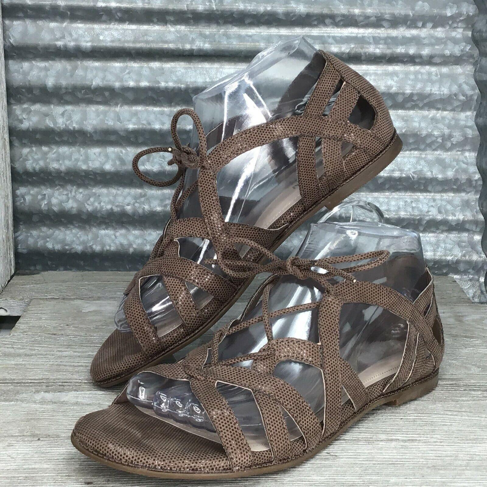 Kenneth Cole Women Brown Reaction Gladiator Comfort Snake Print Sandal Size 7.5