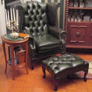 Chesterfield-Queen-Anne-High-Back-Wing-Chair-Antique-Green-Leather-Footstool