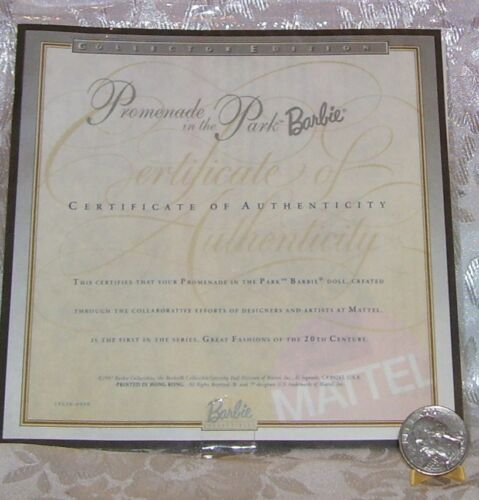 MATTEL PROMENADE IN THE PARK BARBIE DOLL CERTIFICATE OF AUTHENTICITY COA ONLY