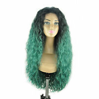 18-30 Front Lace Wigs Water Wave Synthetic Ombre Piano T Color Full T1b Green