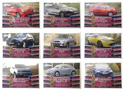 Top Gear Turbo Attax Trading Cards 103-116 Regular Base Red