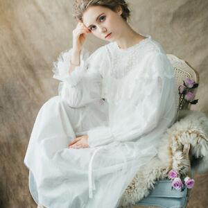 8f13dd34eb Details about Women Vintage Sleepwear Princess Nightgown Cotton Lace Long  Sleeve Sleep Dress
