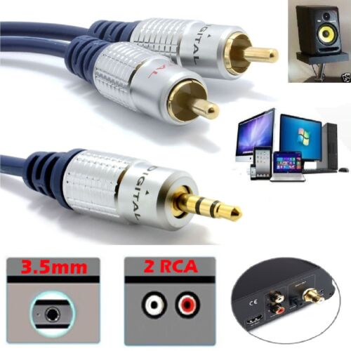 3.5mm Stereo Jack to Twin 2RCA Phono Plug Aux Audio Cable For PC Car Speaker Lot