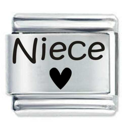 DAISY CHARM Etched Fits Nomination Classic Size Italian Charm NIECE HEART