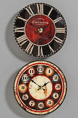 1 Wanduhr nostalgische Küchenuhr Glas Retro Uhr Shabby Clock Shabbyuhr Retrouhr