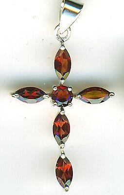 "925 Sterling Silver Genuine Garnet Cross Pendant 5 Marquise Shape stones  1.1//4/"""