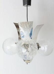 lustre suspension 3 boules verre chrome 1970 vintage space. Black Bedroom Furniture Sets. Home Design Ideas