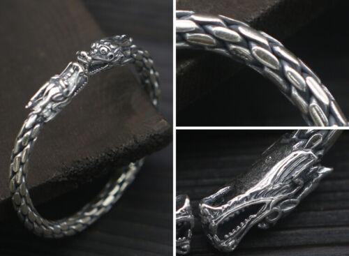 48.8 G 925 Sterling Silver Dragon tressé Hommes Femmes Cuff Bangle Bracelet P4038