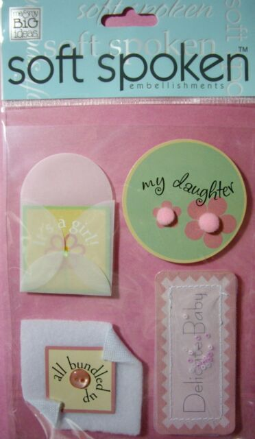NEW 4 pc DELICATE BABY GIRL Daughter Sweet SOFT SPOKEN 3D Embellishments MAMBI