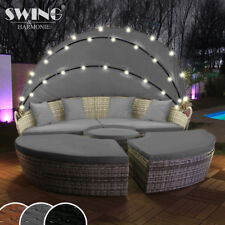 LED - Sonneninsel Rattan Lounge Gartenliege Polyrattan Sitzgruppe Liege Insel