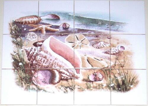 "Sea Shell Ceramic Tile Mural  Shells 12 of 4.25/"" Kiln Fired Back Splash Seascape"