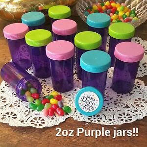 12-PURPLE-JARS-2oz-Party-Candy-Pill-Bottles-Doc-McStuffins-RX-4314-DecoJars