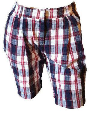 Bermuda Shorts Pantaloncino Aderente Quadretti Cotone Risvolto Donna Siviglia 40 Ampia Selezione;