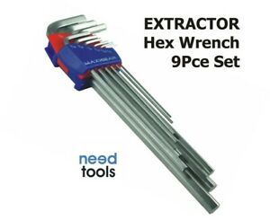 WRENCH Hex Set 9 Piece SAE Imperial Hex Key Extractor Set Maxigear MGHK2075