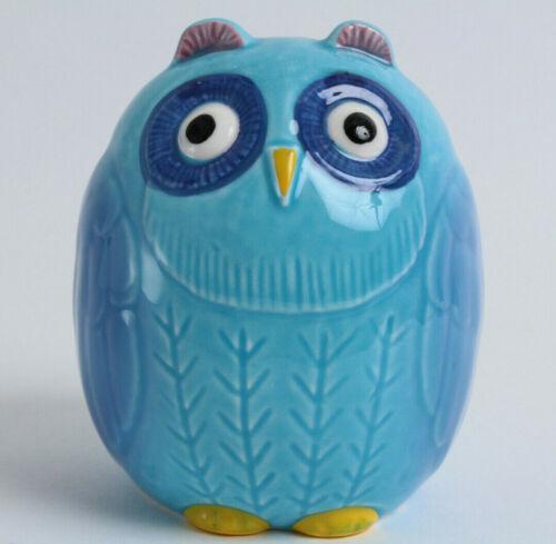 Coin//Change Bank Owl Shape Blue Seto ware Japanese Ceramic Piggy Bank