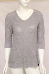 Women-039-s-Coldwater-Creek-Knitted-Sweater-3-4-Sleeve-Gray-Size-M-10-12-EUC