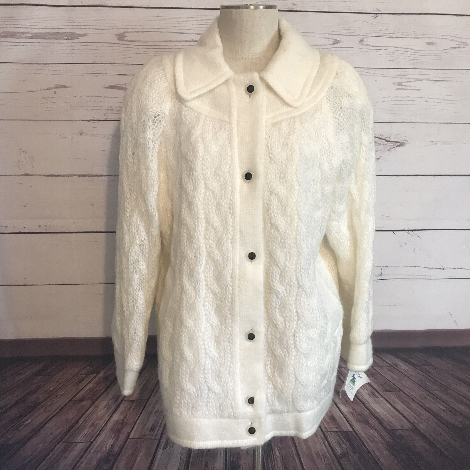 NEW Ivory Vintage Donegal Design Ireland Pure Wool Coat Large Lined Buttons NOS