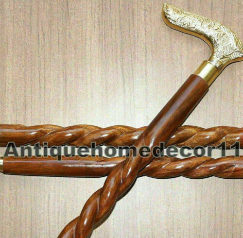 """36/"""" ANTIQUE BRASS HANDLE SOLID WOODEN SPIRAL WALKING CANE STICK CHRISTMAS GIFT"""