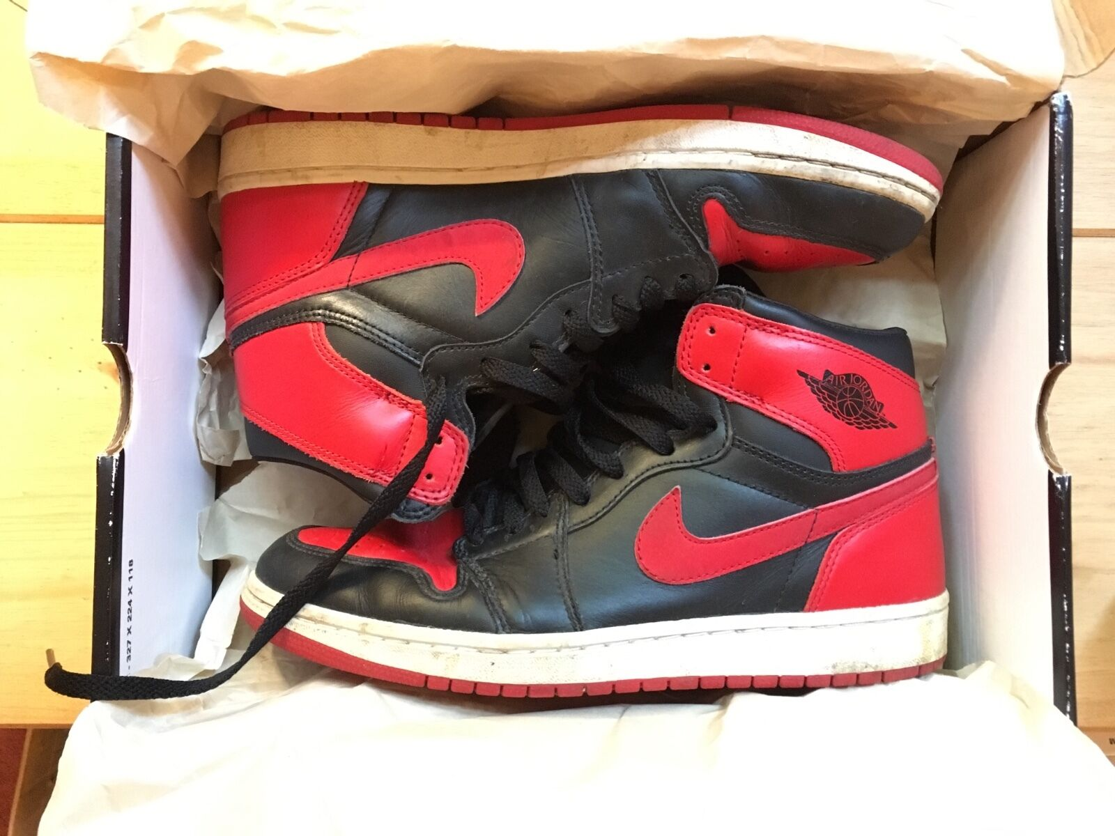 2001 Nike Air Jordan 1 Black and Red UK8 EU 42.5 US9