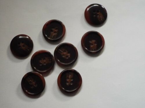 8pc 20mm Walnut /& Umber Brown Mock Horn Suit Cardigan Knitwear Baby Button 5612