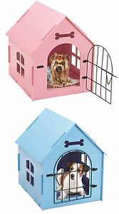 Pet-House-Crate-Small-Dog-Cat-Wooden-Kennel-Indoor-Home-Shelter-Bed-Mat-PINK-BLU