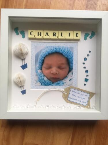 Baby Boy Personalised Frame Hand made Present Gift Son Special Girl