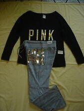 NWT New Victoria's Secret Pink Bling T Shirt Top Velour Pants Set Sequins L Rare