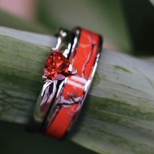 2pc Red Camo Stainless Steel Band 925 Sterling Silver Ruby Wedding Ring Set