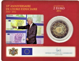 LUXEMBOURG 2012 Coincard 2 euro BU, 2 € Commémorative 10 ANS DE L'EURO
