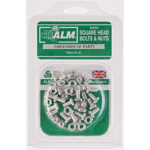 ALM pacco da 20 PIAZZA SMALTO Bulloni /& Dadi per serre in Alluminio Casa Verde