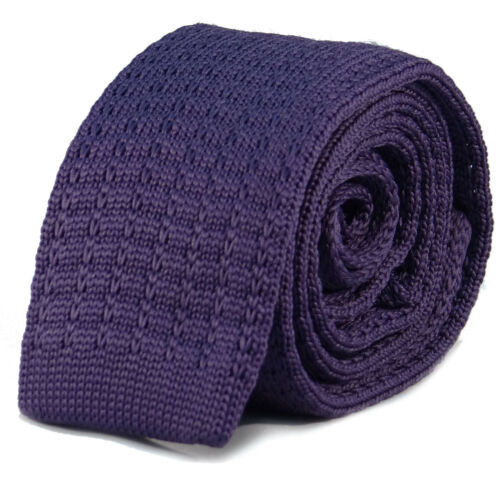 New Luxury Mens Plain Purple Woven Tie Necktie Solid Knitted Skinny Solid