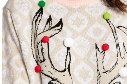 Donne Ragazze Babbo Natale Novità natale Fairisle Retro Maglione Pullover Tunica UK