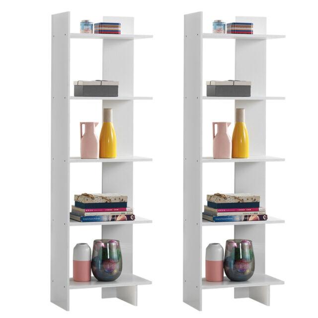 2 PCs Bookcase Storage 5-Tier Open Shelf Display Room