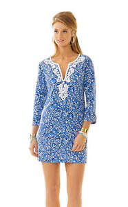 5d5371e9f7881d Image is loading New-Lilly-Pulitzer-JULIANNA-EMBROIDERED-TUNIC-DRESS-Indigo-