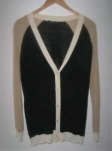 St John Black/Beige Color Block Cardigan Sweater Women's P or S Thin Knit V-Neck
