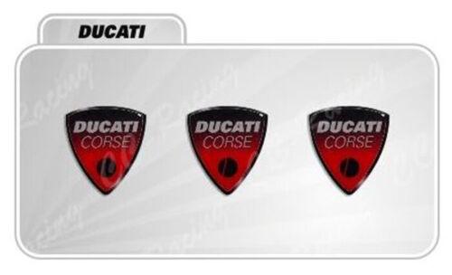 3 Adesivi Resinati Sticker 3D Ducati Corse 20 mm ROSSO old
