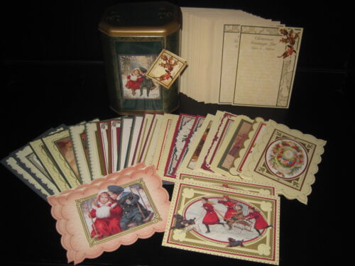 VTG LOT OF 26 VICTORIAN COLLECTION SANTA KIDS XMAS GREETING CARDS UNUSED & TIN