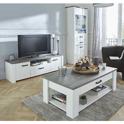 Pack muebles salon comedor mesa TV mesa centro vitrina color claro moderno