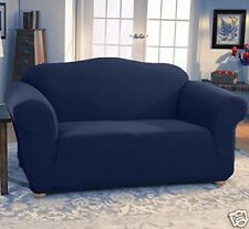 JERSEY STRETCH FIT 2 Pc Furniture Slipcover Set, Sofa/Couch+Loveseat Covers NAVY