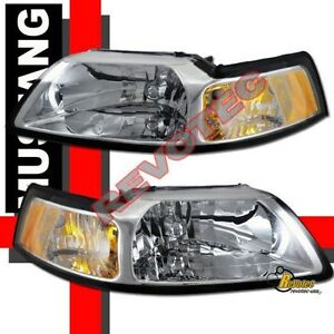 1999-2004-Ford-Mustang-Cobra-GT-Base-Chrome-Headlights-Lamps-1-Pair