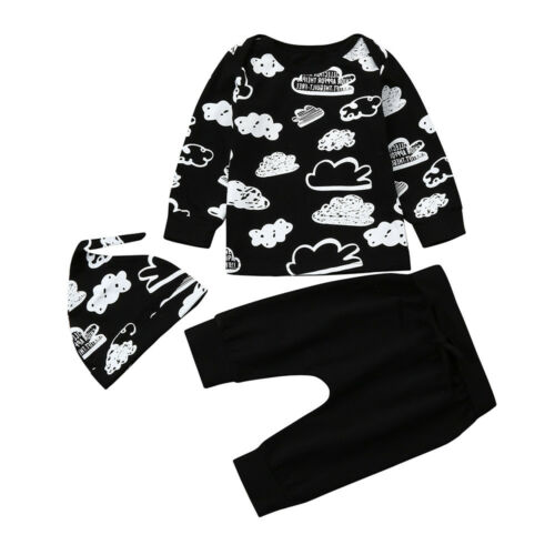Unisex Newborn Infant Baby Boys Girls Cotton Cartoon Print Outifits Clothes Sets