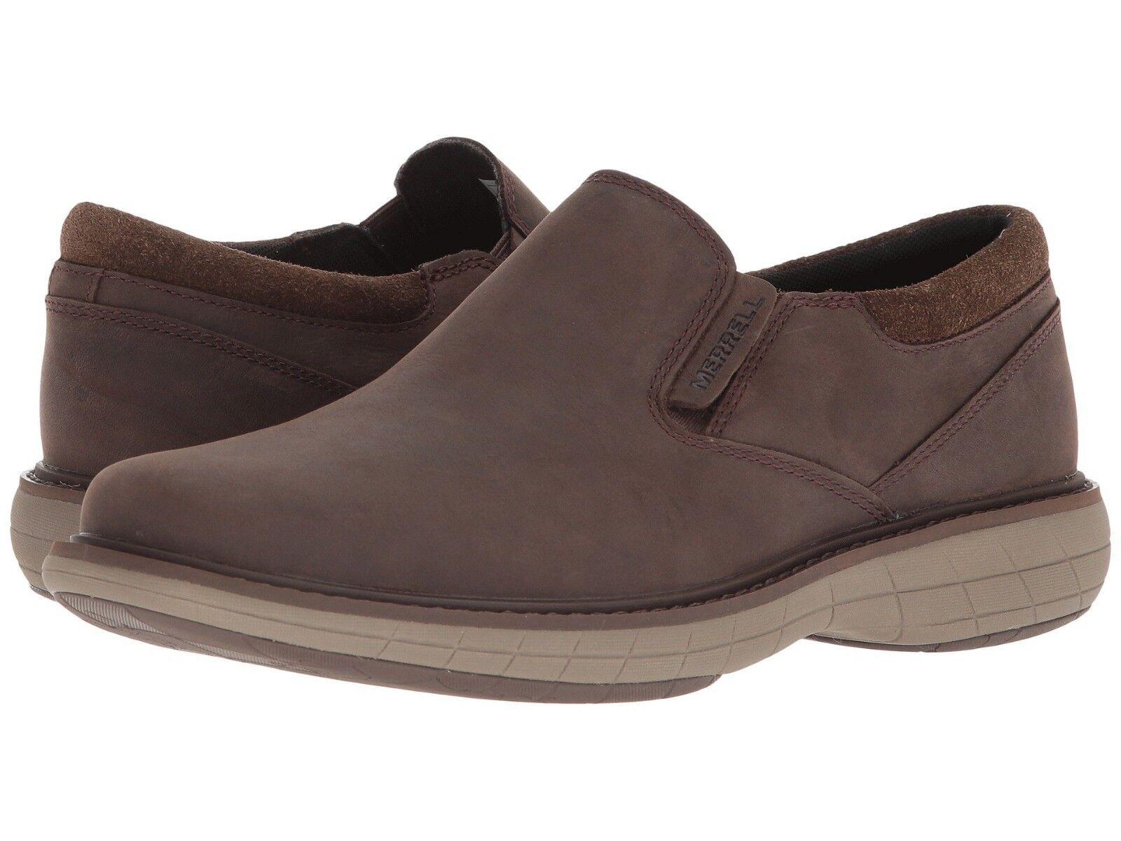Nuevo Para hombres Merrell mundo Vue Moc Slip On Marrón Cuero Zapatos De Senderismo Genuino pizarra