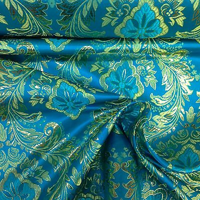 "Metallic Floral Brocade Fabric 60"" By Yard in Red Gold White Purple Blue Green"