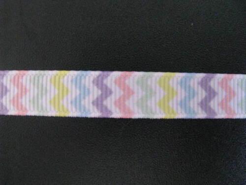 """chevron pastel multi colour grosgrain ribbon 3//8/"""" per 1 mtr hair scrapbook card"""