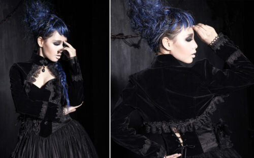 Samt Bolero Jacke Gothic Lolita Viktorianisch Barock Stickerei Rüschen PunkRave