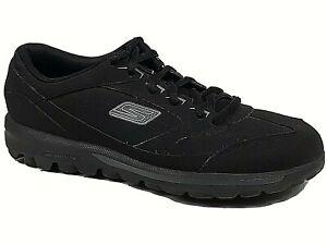 SKECHERS-Womens-Go-Walk-Black-Low-Top-Lace-Up-Shoes-Size-7-5-S28